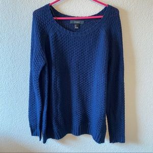 F21 Navy Cable Knit Scoop Neck Sweater